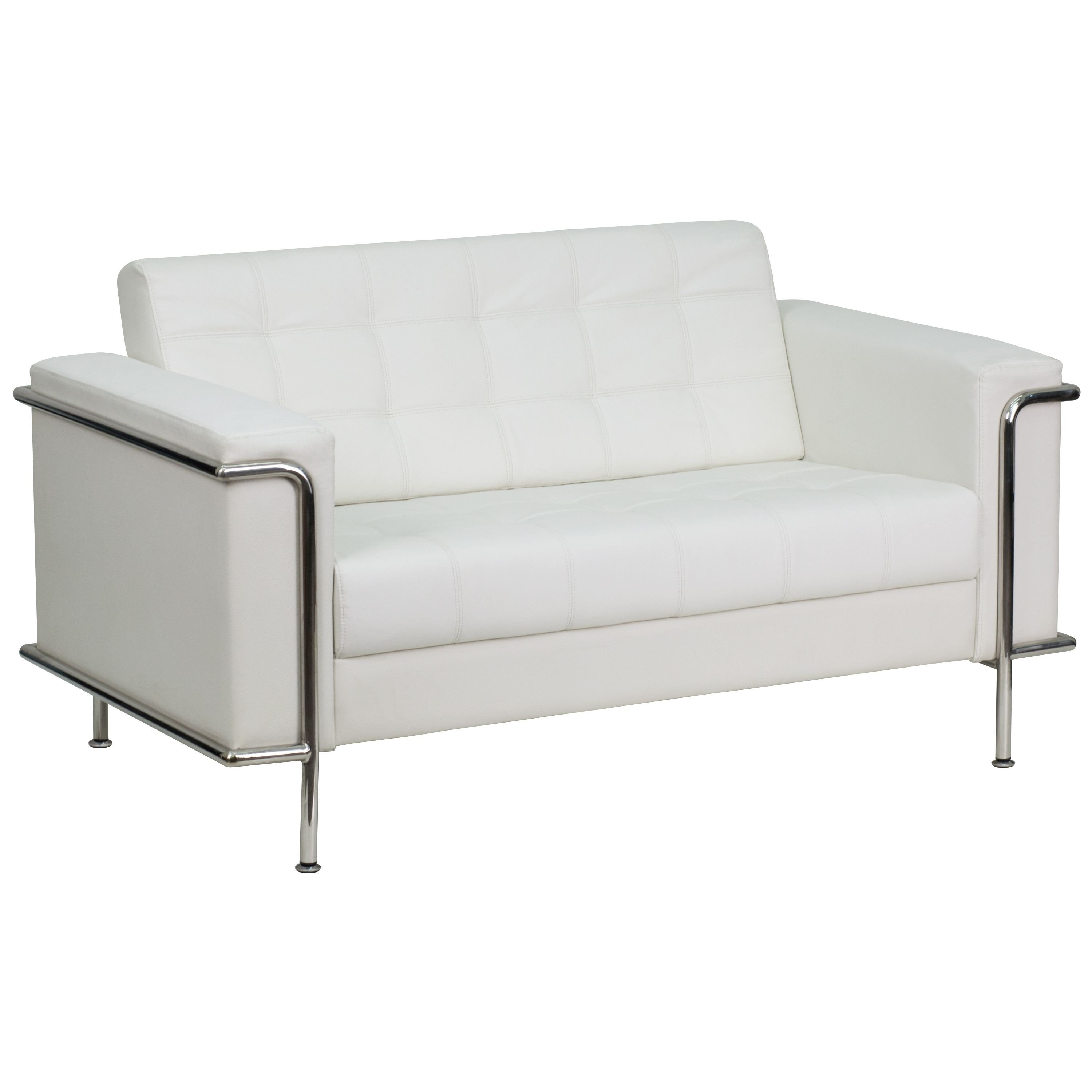 Lesley Series Contemporary White Leather Love Seat with Encasing Frame