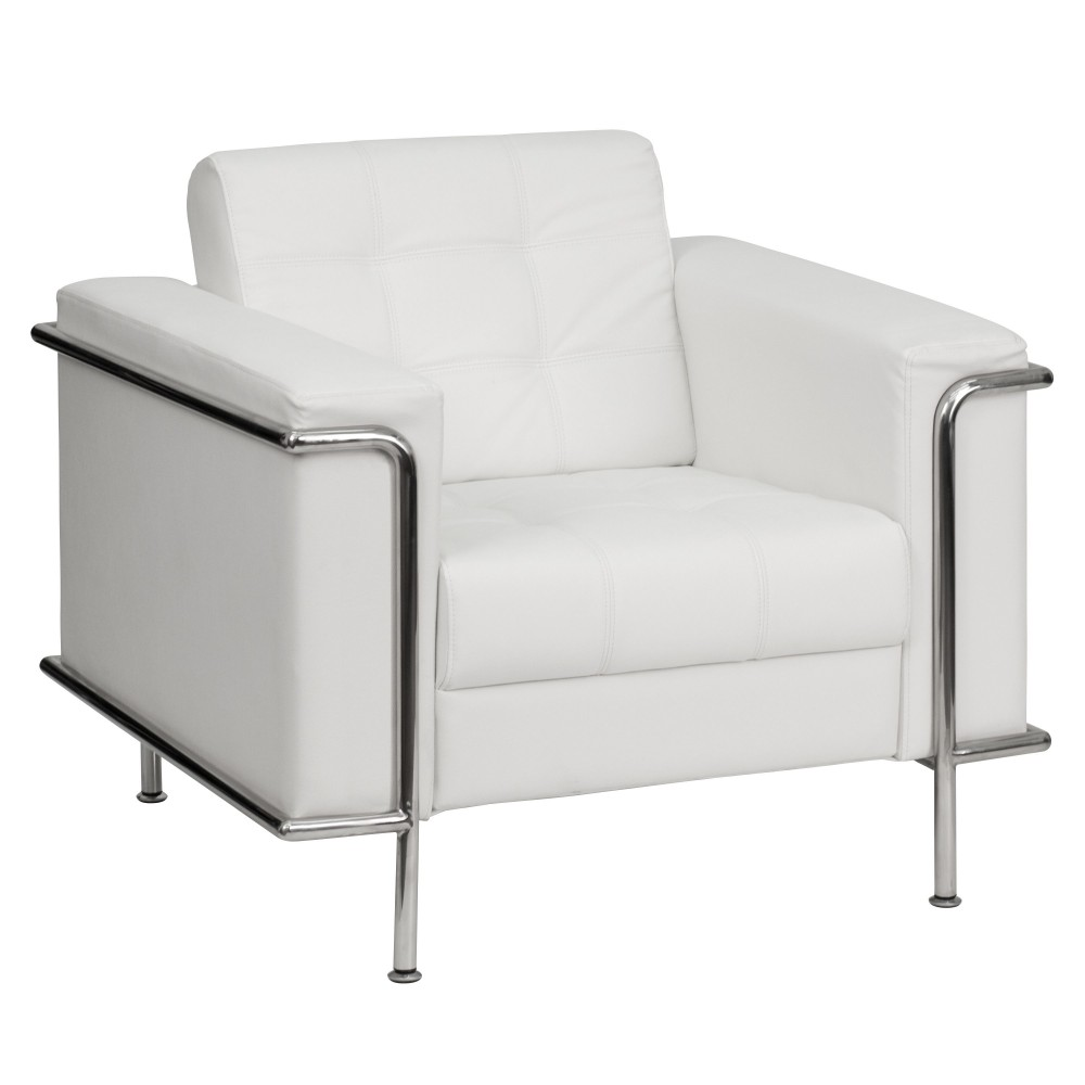 Lesley Series Contemporary White Leather Chair with Encasing Frame