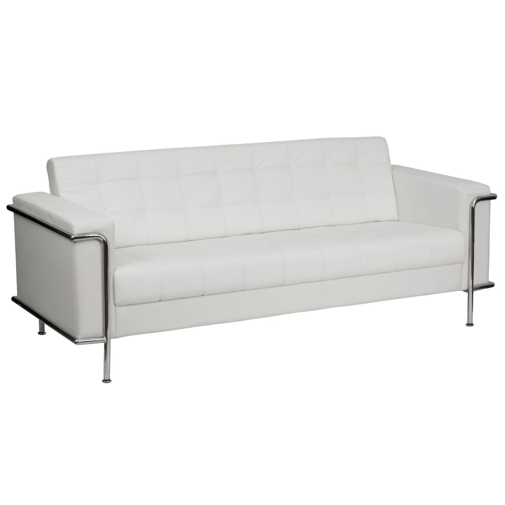 Lesley Series Contemporary White Leather Sofa with Encasing Frame