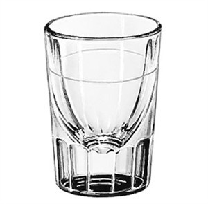 Libbey Glass 5126/S0711 Fluted 2 oz. Whiskey Shot Glass Lined at 7/8 oz.