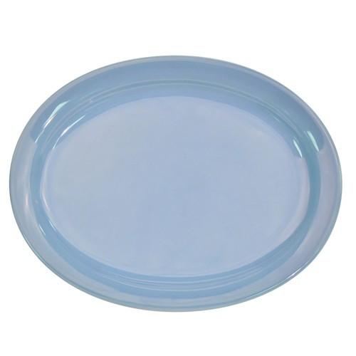 "CAC China L-12NR-LBU Las Vegas Narrow Rim Light Blue Oval Platter, 9 3/4"" x 7-1/4"""