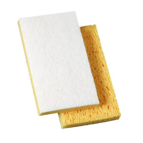 Light-Duty Scrub Sponge, 3.6 X 6.1 X .7, Yellow & White