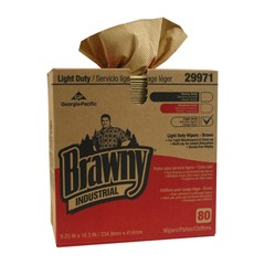 Light-Duty Three-Ply Paper Wipers, 9-1/4x16-3/4, Brown, 80/Box