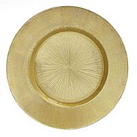 "Jay Import 1900013 Light Gold Antique Glass 13"" Charger Plate"