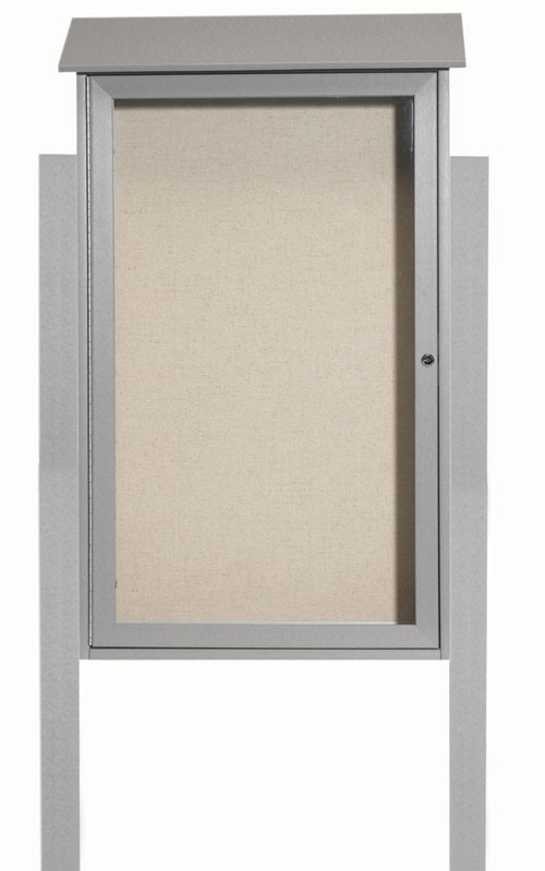 Light Grey Single Hinged Door Plastic Lumber Message Center with Vinyl Posting Surface (Posts Included)-42