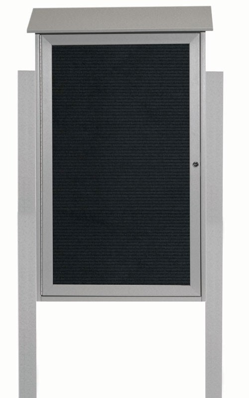 Light Grey Single Hinged Door Plastic Lumber Message Center with Letter Board (Posts Included)-42