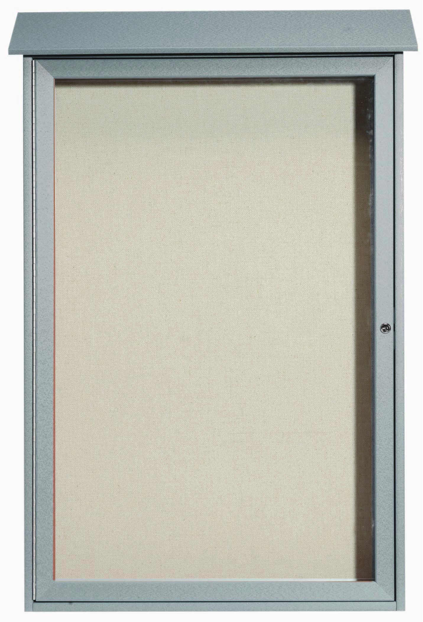 Light Grey Single Hinged Door Plastic Lumber Message Center with Vinyl Posting Surface-48