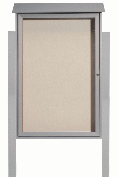 Light Grey Single Hinged Door Plastic Lumber Message Center with Vinyl Posting Surface (Posts Included)-48