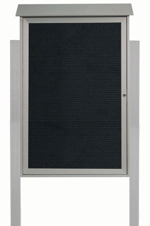 "Aarco Products PLD4832LDPP-2 Light Grey Single Hinged Door Plastic Lumber Message Center with Letter Board (Posts Included), 48""H x 32""W"