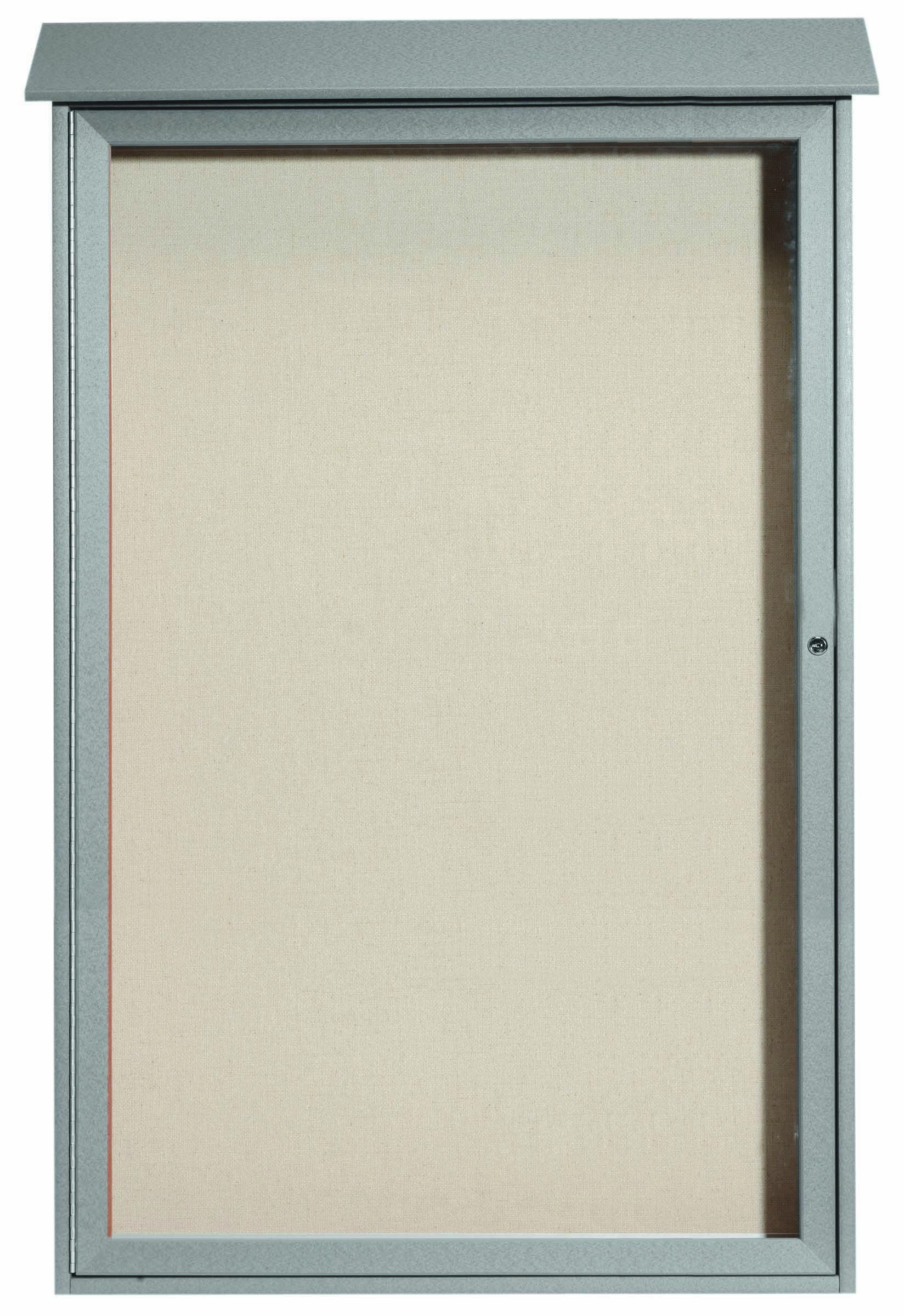 """Aarco Products PLD5438-2 Light Grey Single Hinged Door Plastic Lumber Message Center with Vinyl Posting Surface, 54""""H x 38""""W"""