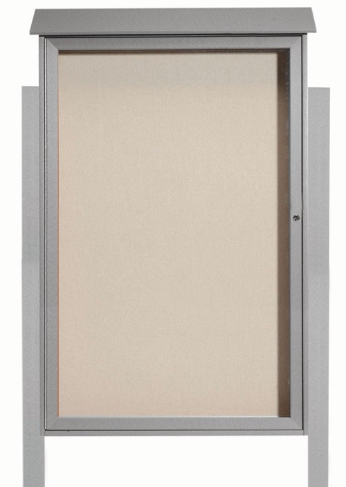 "Aarco Products PLD5438DPP-2 Light Grey Single Hinged Door Plastic Lumber Message Center with Vinyl Posting Surface (Posts Included), 54""H x 38""W"