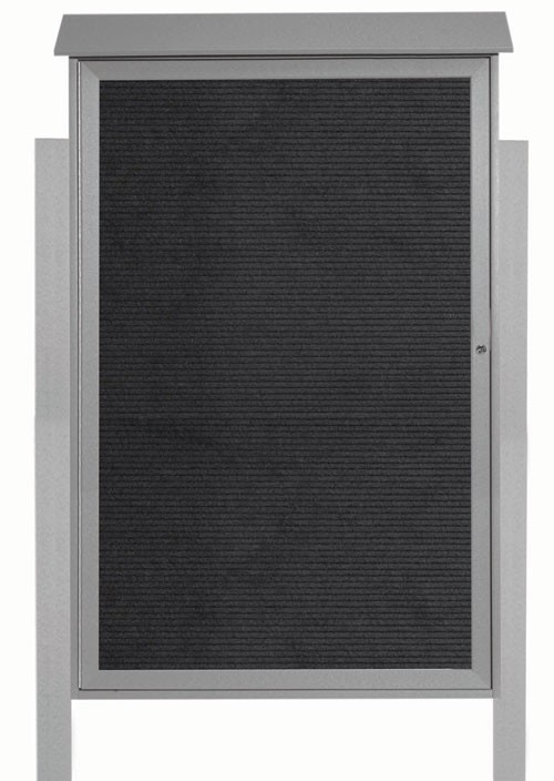 "Aarco Products PLD5438LDPP-2 Light Grey Single Hinged Door Plastic Lumber Message Center with Letter Board (Posts Included), 54""H x 38""W"