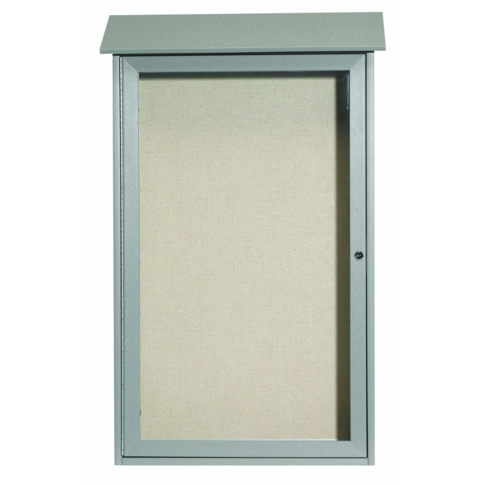 "Aarco Products PLD4226-2 Light Grey Single Hinged Door Plastic Lumber Message Center with Vinyl Posting Surface, 42""H x 26""W"