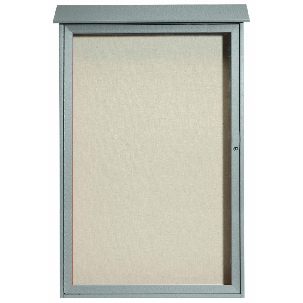 Light Grey Single Hinged Door Plastic Lumber Message Center with Vinyl Posting Surface-54