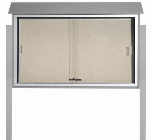 "Aarco Products PLDS3045DPP-2 Light Grey Sliding Door Plastic Lumber Message Center with Vinyl Posting Surface (Posts Included), 30""H x 45""W"