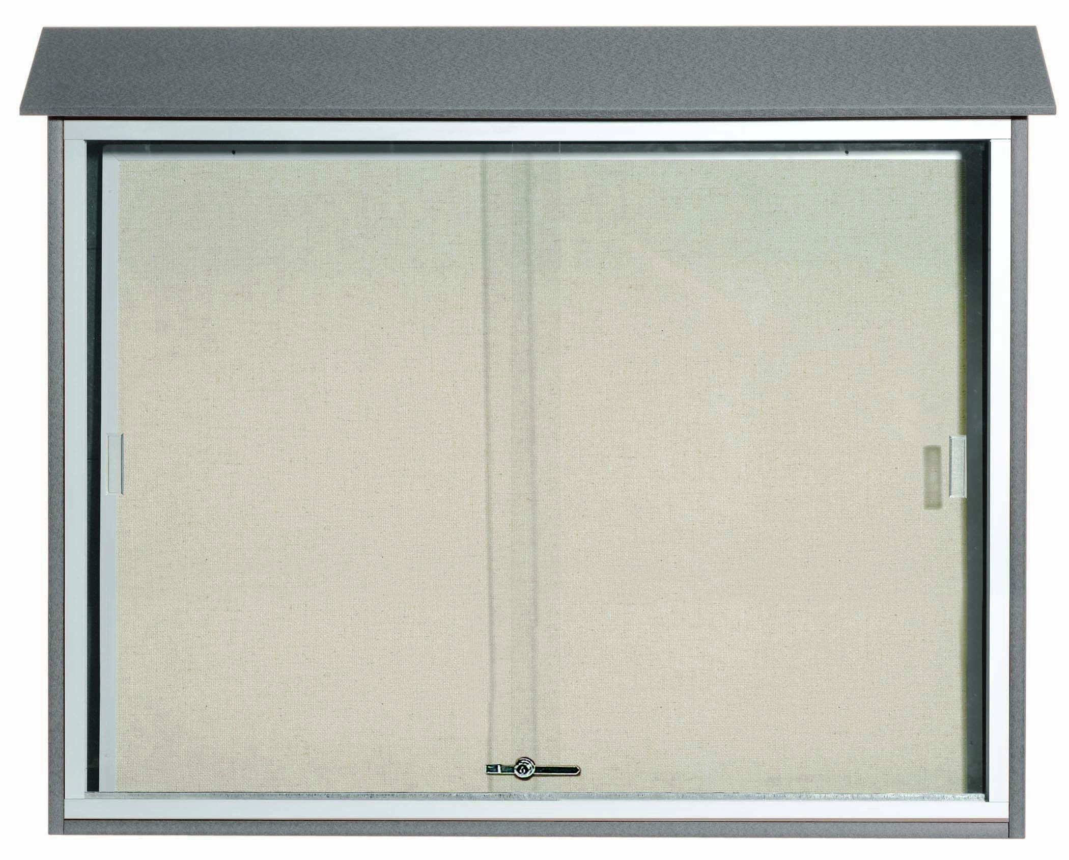 "Aarco Products PLDS3645-2 Light Grey Sliding Door Plastic Lumber Message Center with Vinyl Posting Surface, 36""H x 45""W"