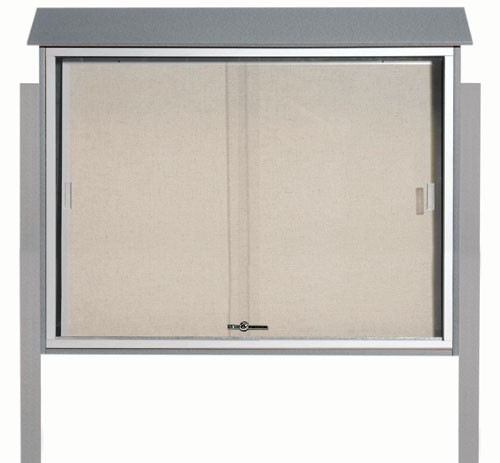 "Aarco Products PLDS3645DPP-2 Light Grey Sliding Door Plastic Lumber Message Center with Vinyl Posting Surface (Posts Included), 36""H x 45""W"