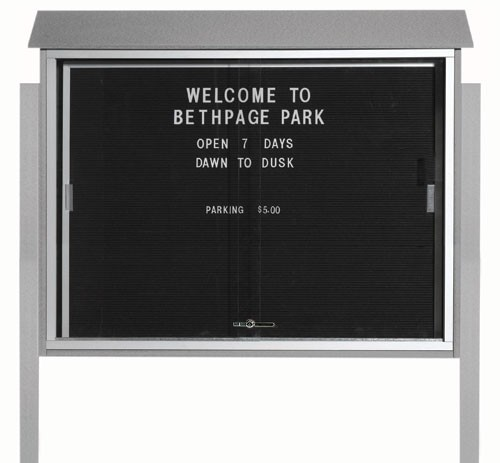 "Aarco Products PLDS3645LDPP-2 Light Grey Sliding Door Plastic Lumber Message Center with Letter Board (Posts Included), 36""H x 45""W"