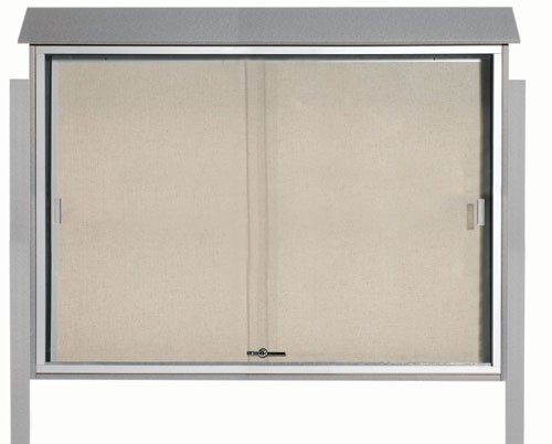 "Aarco Products PLDS4052DPP-2 Light Grey Sliding Door Plastic Lumber Message Center with Vinyl Posting Surface (Posts Included), 40""H x 52""W"