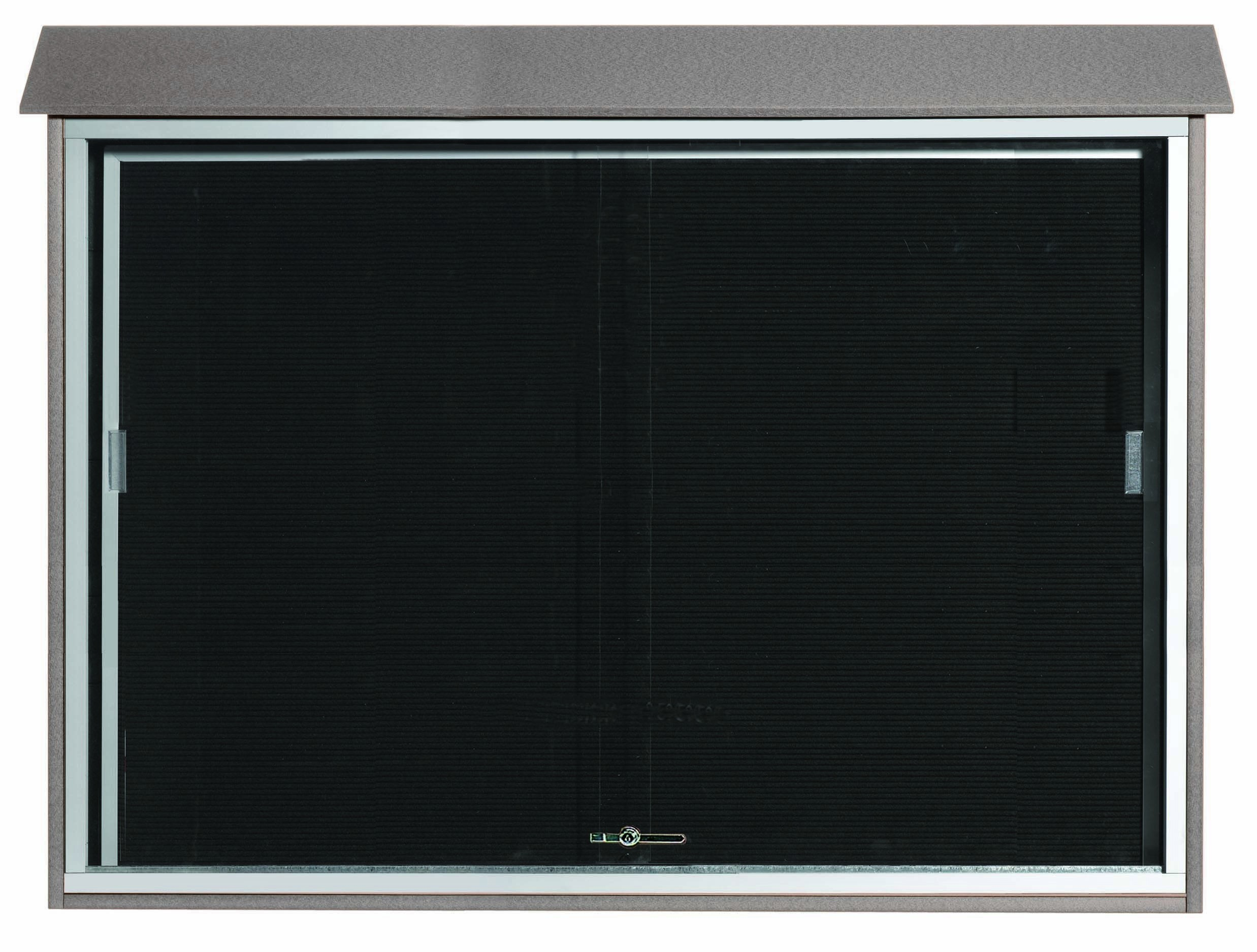 """Aarco Products PLDS4052L-2 Light Grey Sliding Door Plastic Lumber Message Center with Letter Board, 40""""H x 52""""W"""