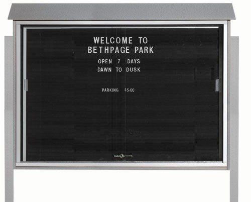 """Aarco Products PLDS4052LDPP-2 Light Grey Sliding Door Plastic Lumber Message Center with Letter Board (Posts Included), 40""""H x 52""""W"""