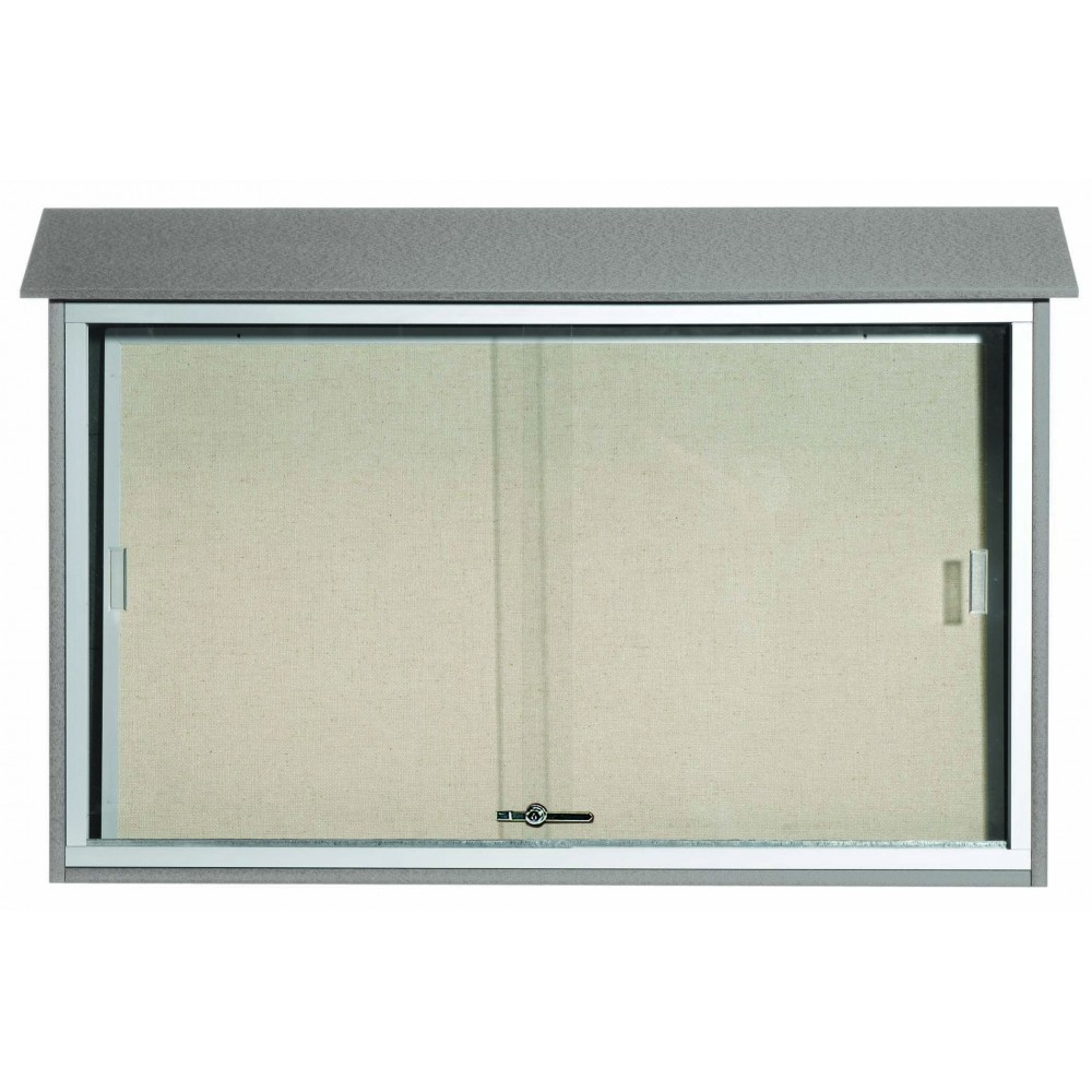 Light Grey Sliding Door Plastic Lumber Message Center with Vinyl Posting Surface-30