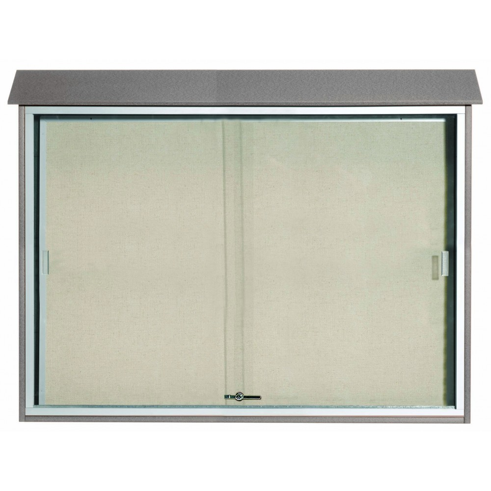"Aarco Products PLDS4052-2 Light Grey Sliding Door Plastic Lumber Message Center with Vinyl Posting Surface, 40""H x 52""W"