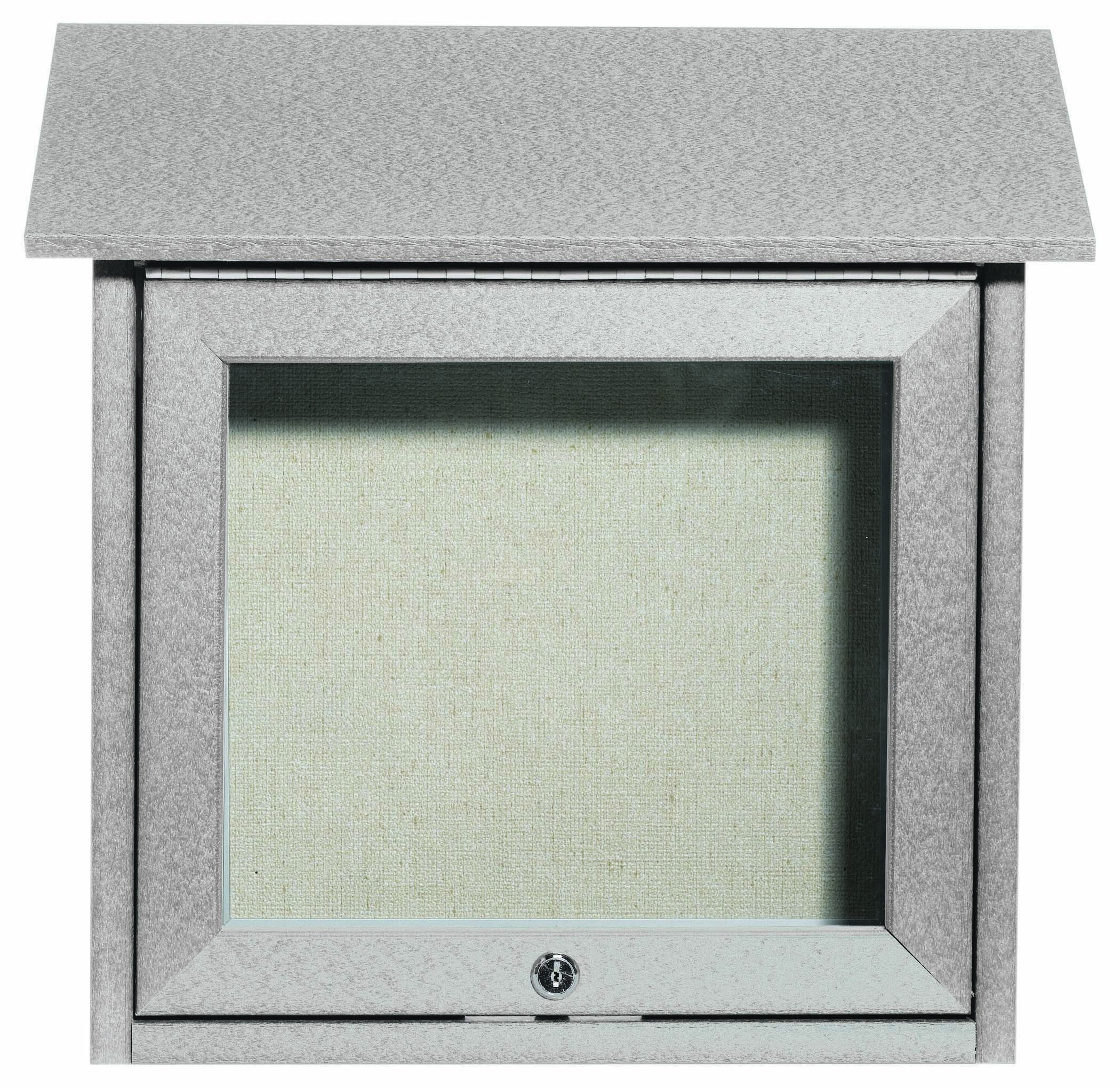 Light Grey Slimline Series Top Hinged Single Door Plastic Lumber Message Center with Vinyl Posting Surface-18