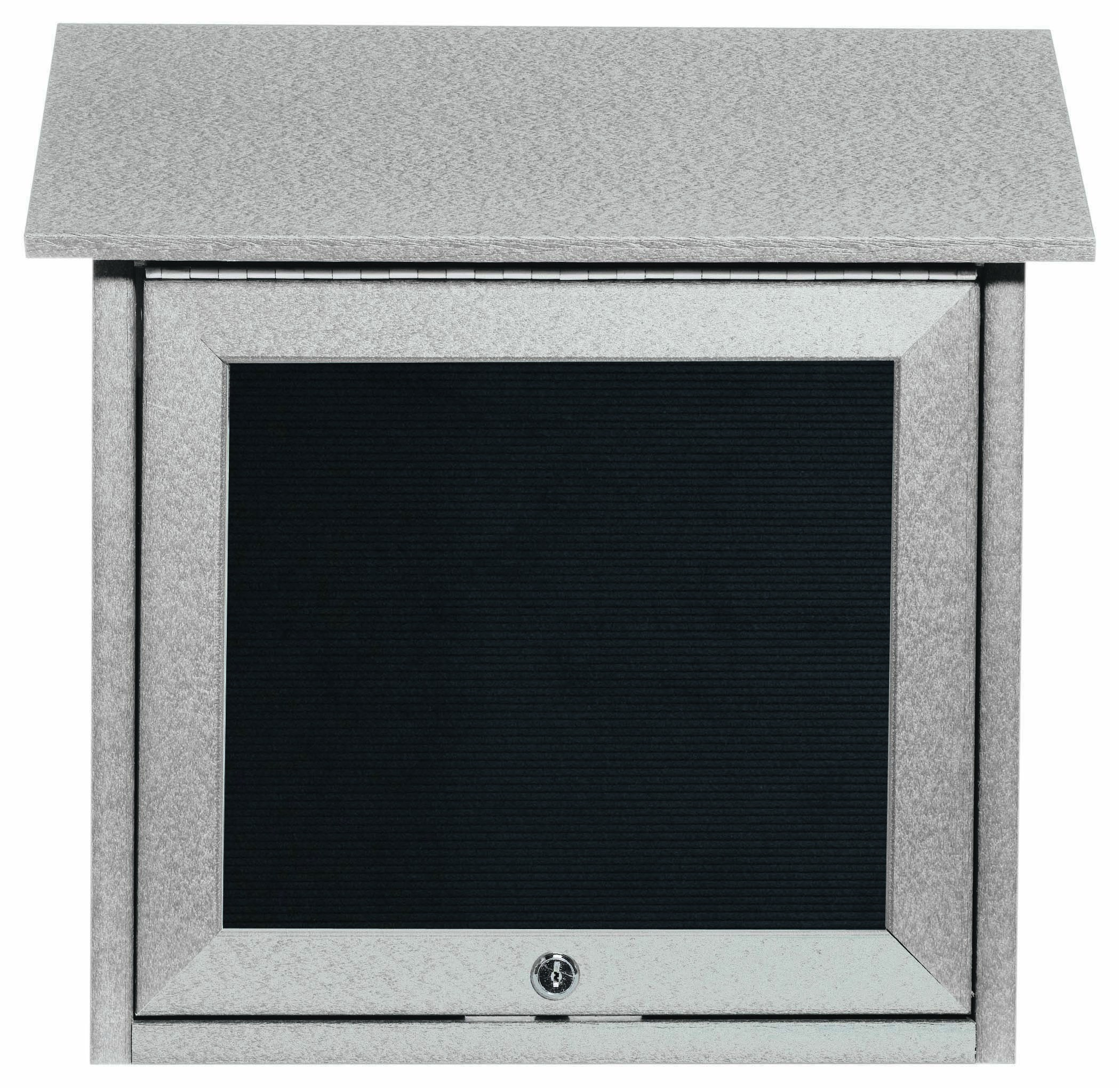 """Aarco Products OPLD1818L-2 Light Grey Slimline Series Top Hinged Single Door Plastic Lumber Message Center with Letter Board 18""""H x 18""""W"""