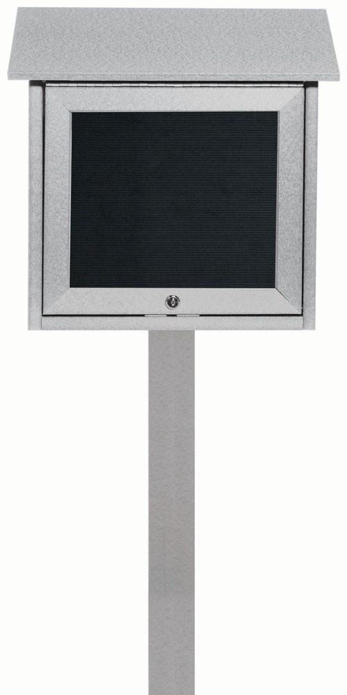 "Aarco Products OPLD1818LSPP-2 Light Grey Slimline Series Top Hinged Single Door Plastic Lumber Message Center with Letter Board (Post Included) 18""H x 18""W"