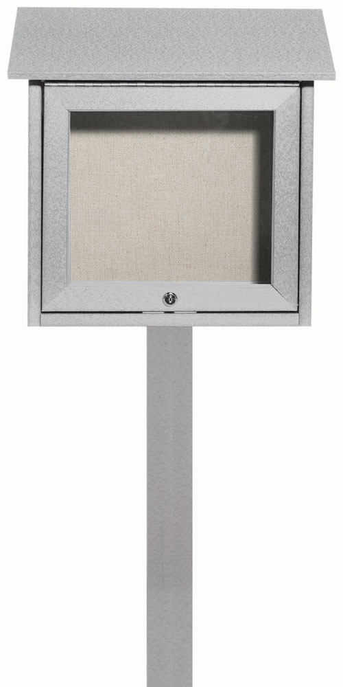"Aarco Products OPLD1818SPP-2 Light Grey Slimline Series Top Hinged Single Door Plastic Lumber Message Center with Vinyl Posting Surface 18""H x 18""W"