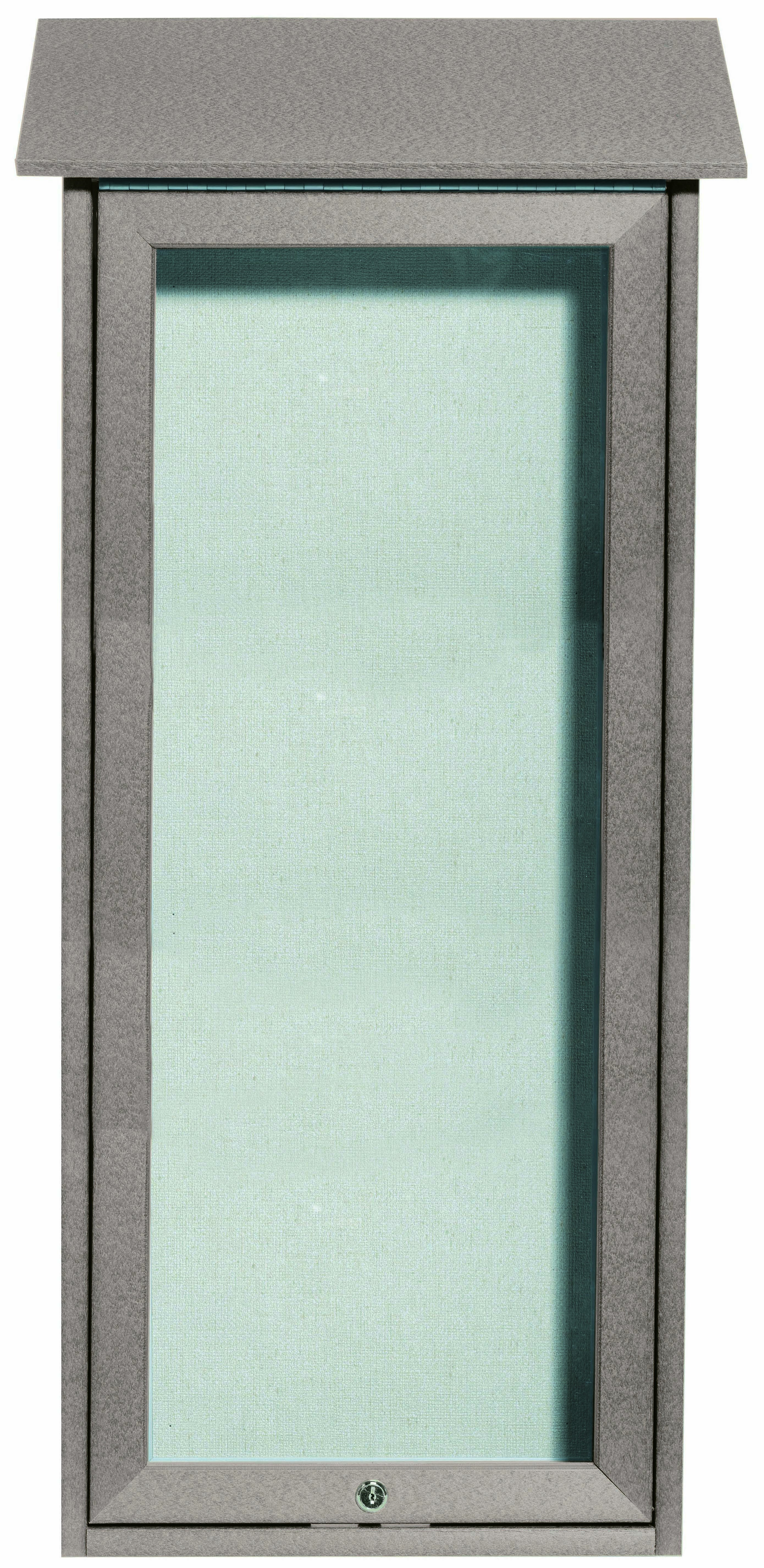 Light Grey Slimline Series Top Hinged Single Door Plastic Lumber Message Center with Vinyl Posting Surface-34