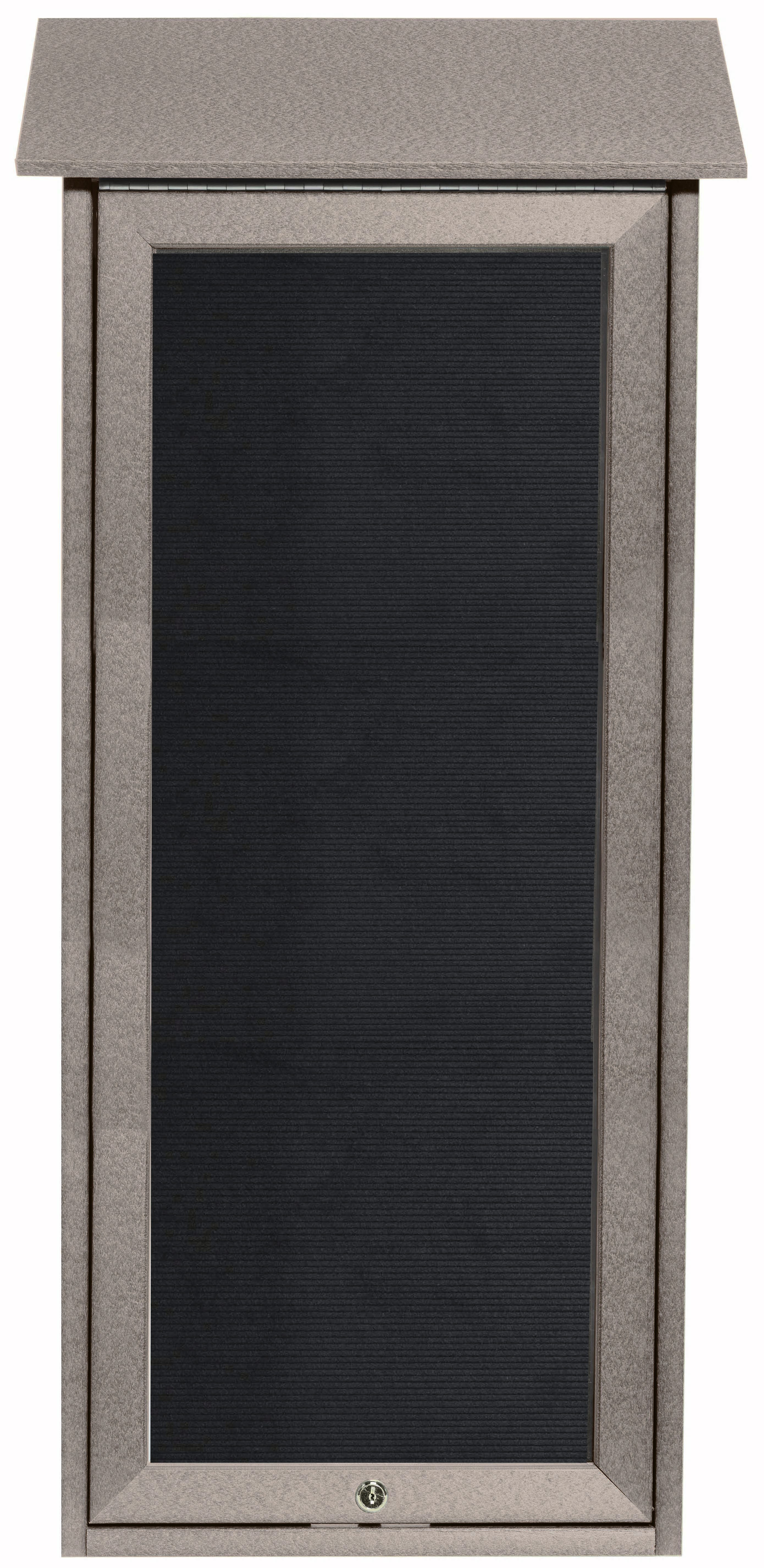 """Aarco Products OPLD3416L-2 Light Grey Slimline Series Top Hinged Single Door Plastic Lumber Message Center with Letter Board-34""""H x 16""""W"""