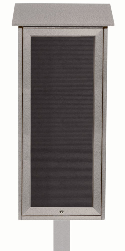 Light Grey Slimline Series Top Hinged Single Door Plastic Lumber Message Center with Letter Board (Post Included)-34