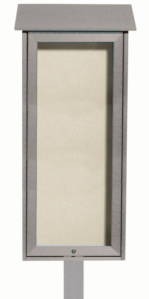 Light Grey Slimline Series Top Hinged Single Door Plastic Lumber Message Center with Vinyl Posting Surface (Post Included)