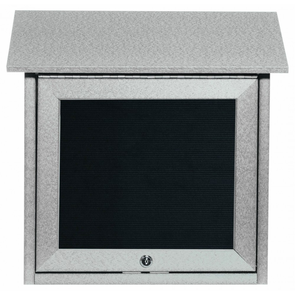 Light Grey Slimline Series Top Hinged Single Door Plastic Lumber Message Center with Letter Board-18