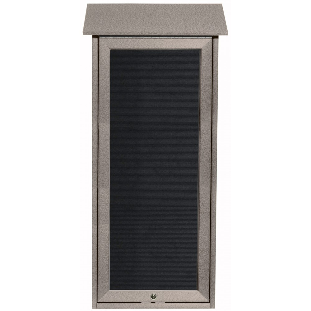 Light Grey Slimline Series Top Hinged Single Door Plastic Lumber Message Center with Letter Board-34