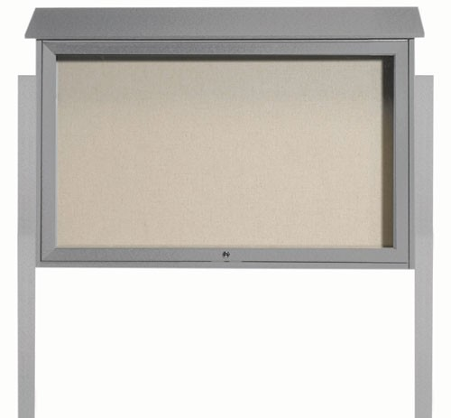 "Aarco Products PLD3045TDPP-2 Light Grey Top Hinged Single Door Plastic Lumber Message Center with Vinyl Posting Surface (Posts Included), 30""H x 45""W"