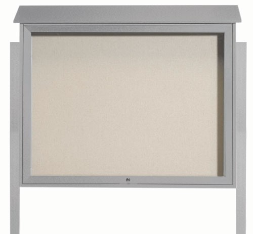 Light Grey Top Hinged Single Door Plastic Lumber Message Center with Vinyl Posting Surface (Posts Included)-36
