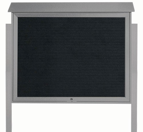 Light Grey Top Hinged Single Door Plastic Lumber Message Center with Letter Board (Posts Included)-36