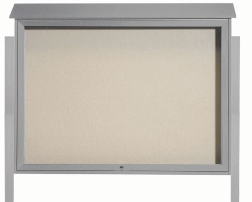 "Aarco Products PLD4052TDPP-2 Light Grey Top Hinged Single Door Plastic Lumber Message Center with Vinyl Posting Surface (Posts Included), 40""H x 52""W"