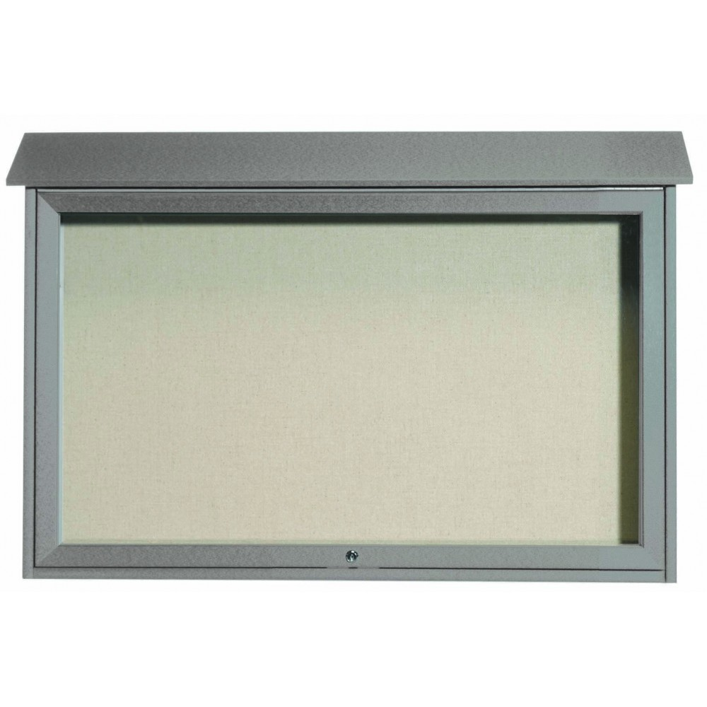 Light Grey Top Hinged Single Door Plastic Lumber Message Center with Vinyl Posting Surface-30