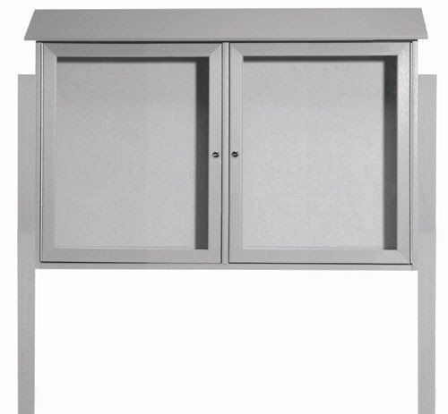 "Aarco Products PLD3045-2DPP-2 Light Grey Two Door Hinged Door Plastic Lumber Message Center with Vinyl Posting Surface (Posts Included), 30""H x 45""W"