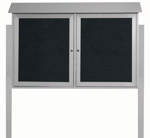 """Aarco Products PLD3045-2LDPP-2 Light Grey Two Door Hinged Door Plastic Lumber Message Center with Letter Board (Posts Included), 30""""H x 45""""W"""
