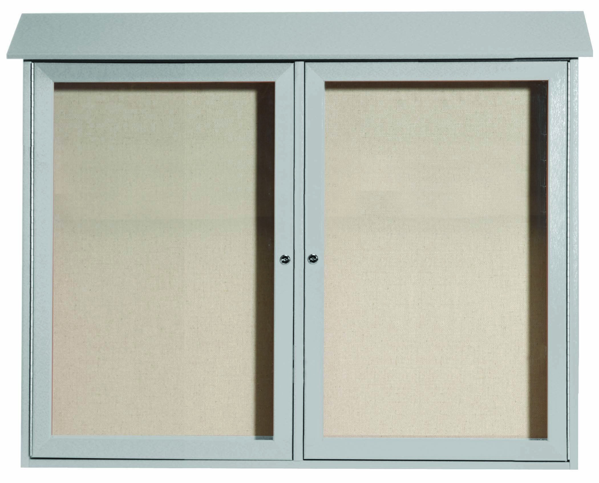 "Aarco Products PLD3645-2-2 Light Grey Two Door Hinged Door Plastic Lumber Message Center with Vinyl Posting Surface, 36""H x 45""W"