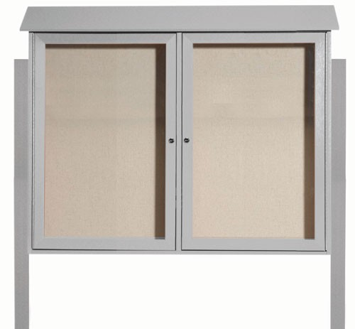 Light Grey Two Door Hinged Door Plastic Lumber Message Center with Vinyl Posting Surface (Posts Included)-36