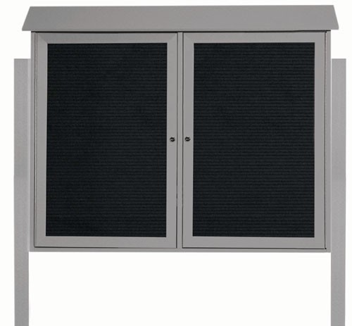 """Aarco Products PLD3645-2LDPP-2 Light Grey Two Door Hinged Door Plastic Lumber Message Center with Letter Board (Posts Included), 36""""H x 45""""W"""