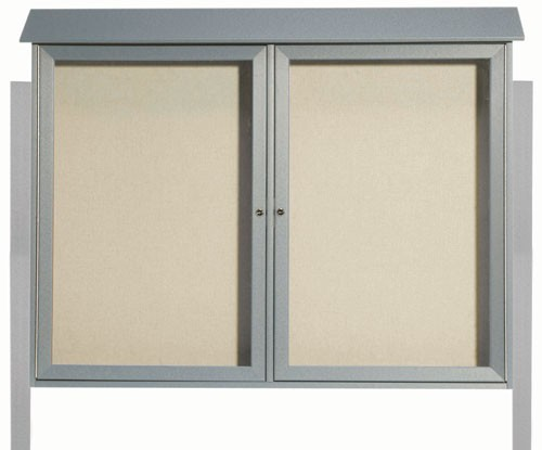 """Aarco Products PLD4052-2DPP-2 Light Grey Two Door Hinged Door Plastic Lumber Message Center with Vinyl Posting Surface (Posts Included), 40""""H x 52""""W"""