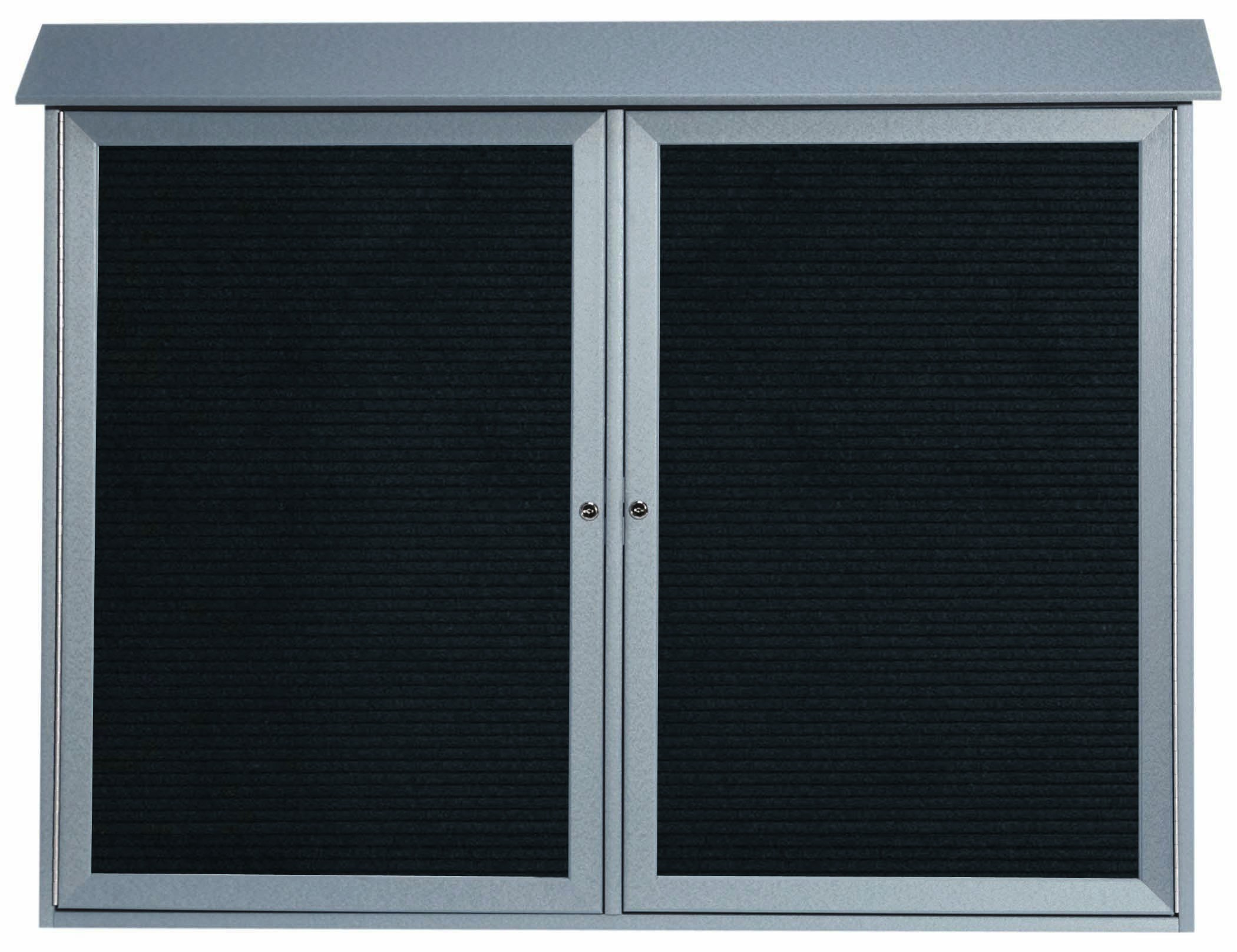 """Aarco Products PLD4052-2L-2 Light Grey Two Door Hinged Door Plastic Lumber Message Center with Letter Board, 40""""H x 52""""W"""