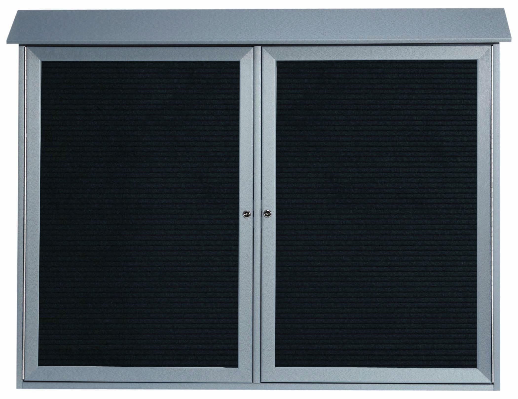 Light Grey Two Door Hinged Door Plastic Lumber Message Center with Letter Board-40